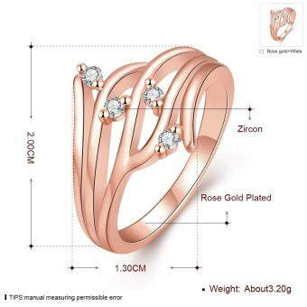 Harga Titanium Wedding Rings Gold Plated Zircon Women Channel Setting Geometric 8 White Gold Plated