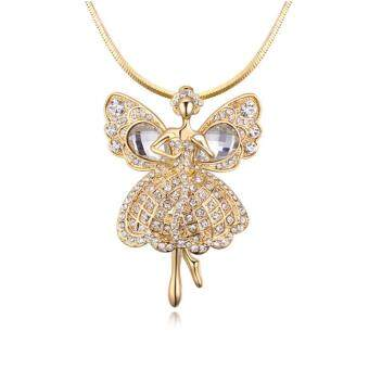 Harga Arche Guardian Angel Crystal Long Necklace Trendy Fashion Designer Jewellery (Gold)