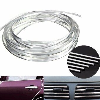Harga 2 PCS 4Mx8mm Car Care Air Vent Chrome Interior Exterior Moulding Trim Strip Air Conditon Switch Rim Siliver