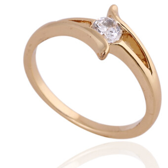 Harga Wonderful Gemstone Inlaid Wedding Ring Couple Ring 18K Gold Plating 16MM