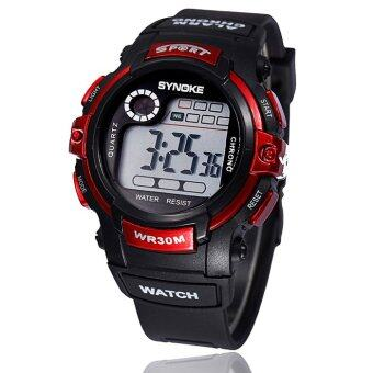 Harga Boy Digital LED Quartz Alarm Date Sports Waterproof Wrist Watch Red