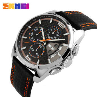 Harga 2017 New Sport Watches Men Fashion Quartz Wristwatches Waterproof Leather Band Stopwatch Luxury Brand Skmei Relogio Masculino