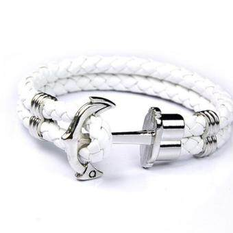 Harga Women Men Multilayer Leather Handmade Cuff Wristband Anchor Bracelet (White)