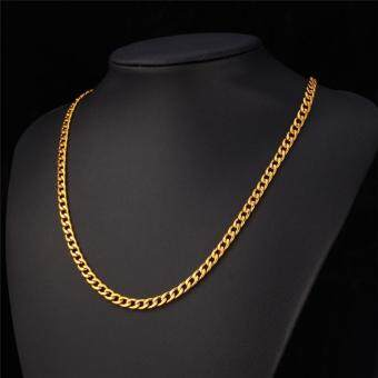 "Harga U7 30"" Classic Cuban Link Chain Necklace Black Gun/ Gold Plated/ Stainless Steel Fashion Men Jewelry Perfect Party Gift Punk Accessories Necklaces (3 Colors)"