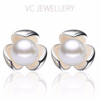 Harga Platinum Plated Clover Pearl Earrings