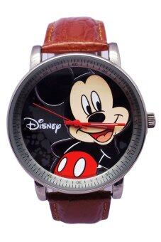 Harga Disney Mickey Mouse Brown Genuine Leather Strap Watch MSFR-958
