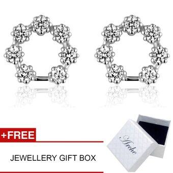 Harga Arche Blooming Flower Wreath Swarovski Zirconia with 925 Silver Stud Earrings (White)