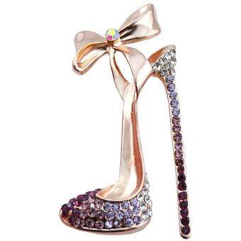 Harga FANCICO Fashion-Elegant-High-heeled-Shoes-Pink Crystal-Pin Brooches-Wedding-Jewelry-Gift
