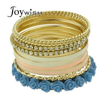 Harga Joywish Bohemian Style Rhinestone Flower Wide Bangles Set for Women