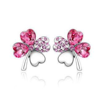Harga Lucky Crystal Four-Leaf Earrings 8 colors-Rose