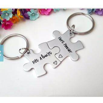 Harga Hequ Couples Key Chains, His Always Hers Forever, Couple Keychains, Stamped Keychains, Handstamped Keychain, Anniversary Gift, Long Distance Gift