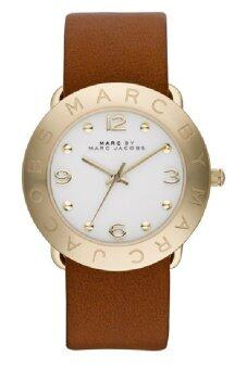 Harga MARC BY MARC JACOBS MBM8574 Amy Quartz White Dial Brown Leather Strap Ladies Watch (White & Brown)