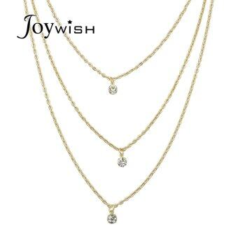 Harga Joywish Gold Silver Color Long Multilayer Chain with Rhinestone Pendant Necklace for Women