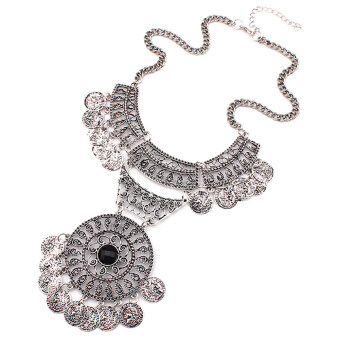 Harga Gracefulvara Charming Jewelry Fashion Women Double Chain Coin Statement Necklace