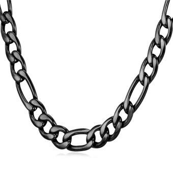 "Harga U7 26"" 9MM Chunky Black Gun Plated Figaro Chain Necklace Fashion Men Jewelry Accessories Punk Style (Black)"