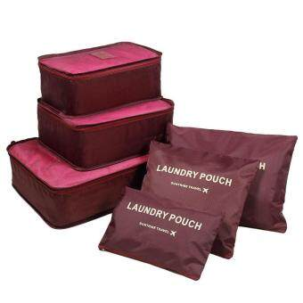 Harga leegoal KAIL 6Pcs Waterproof Travel Storage Bags Clothes Packing Cube Luggage Organizer Pouch (Deep Red)