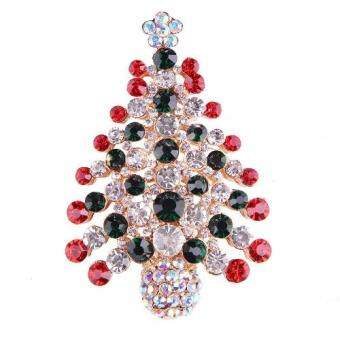 Harga FANCICO Stunning Bright Red Crystal Christmas Tree Brooch