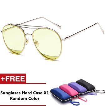 Harga Aussie Brand Unisex Retro Aluminum Sunglasses Polarized Lens Vintage Eyewear Accessories Sun Glasses For Men/Women (Yellow)