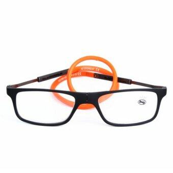 Harga 2016 New Folding Magnetic Reading Glasses Natural rubber Readers Glasses +1.5 (Orange)