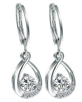 Harga Bigood White Crystal CZ Plated 925 Sterling Silver Hoop Drop Dangle Earrings