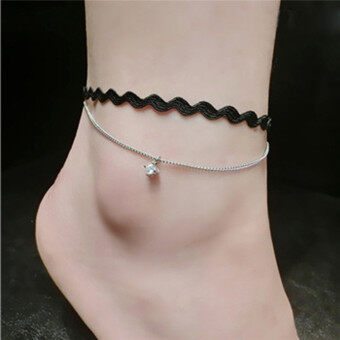 Harga Qingdao big european and american popular trade jewelry fashion jewelry gem diamond wave multilayer anklets