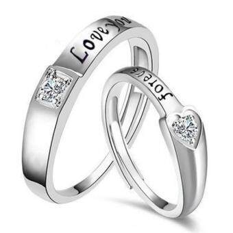 Harga 2 PCS Adjustable Rings Couple Rings Jewellry 925 Silver Adjustable Lovers Rings E025