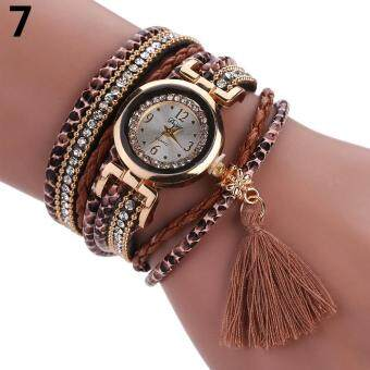 Harga DUOYA Women Ethnic Style Rhinestone Tassels Braided Faux Leather Bracelet Wrist Watch (Coffee)