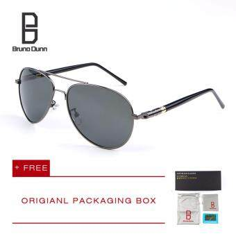 Harga Bruno Dunn Brand Men Polarized Driving Sun Glasses MB 209 Sunglasses Aviator (gun frame gray lense)