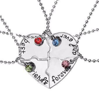 Harga Hequ Hot 4 Pcs set best friends forever Rhinestone Broken Heart Shape Bff Necklace Best friend Jewelry