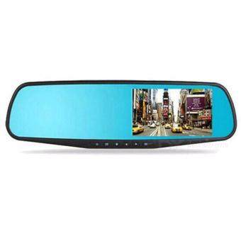 Harga Full HD 1080P Car DVR Camera 4.3 Inch Rearview Mirror Dual Channel DVR Camera Dash Cam Recorder with Night Vision