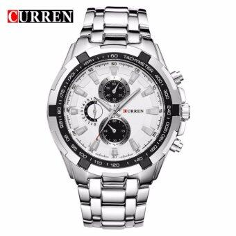 Harga Curren 8023 Men's Silver White Stainless Steel watch