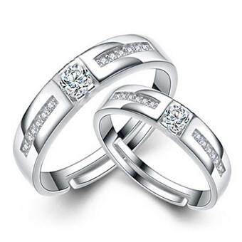 Harga 2 PCS Adjustable Rings Couple Rings Jewellry 925 Silver Adjustable Lovers Rings E024