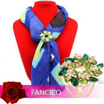 Harga FANCICO Elegant Bauhinia Flower Three Rings Scarves buckle Brooches