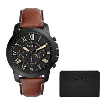 Harga Fossil FS5335SET Men's Grant Chronograph Leather Watch And Leather Card Holder Set