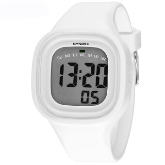 Harga Fashion Colorful Kid and Children's Silicone Sport Waterproof Digital Watches-White(66896)