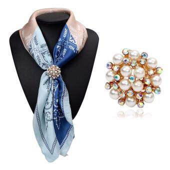 Harga FANCICO Tricyclic Jewelry Pearl Flower Silk Scarf Buckle Ring Holder Clip