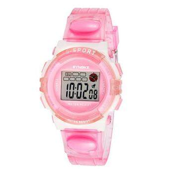 Harga SYNOKE Rubber Digital Led Wristwatch Watch for Girls Kid Children Pink