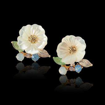 Harga HerMia Elegant Shell Flower 925 Silver CZ Diamond Woman Fashion Stud Earrings Jewelry Accessories ( White )