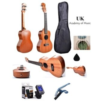 "Harga UK Concert Ukulele 24"" Inch Professional Sapelle Wood With Free Bag, Ukulele Capo, Tuner and Ukulele Pick"