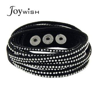 Harga Joywish Punk Rock Style Multicolors Pu Leather Rhinestone Wide Wrap Bracelet