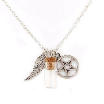Harga Hequ Handmade Movie Supernatural Pentacle Angel Wings Wishing Bottle Guardian Series Silver Plated Necklace Dorabeads Jewelry