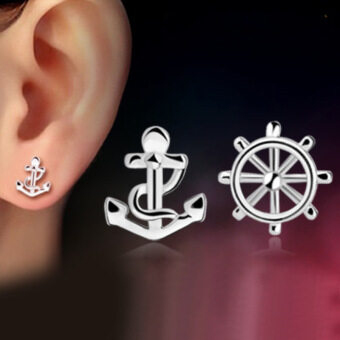 Harga 1 Pair 925 Sterling Sliver Fashion Jewelry Ship's Anchor Rudder Rhinestones Earrings Ear Studs Earring for Women