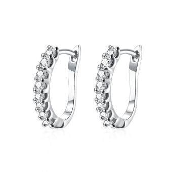 Harga Women Geometric 1.6Cm脳0.3Cm Platinum Plated Gold Hoop Earrings With Pearl Drop Platinum Plated
