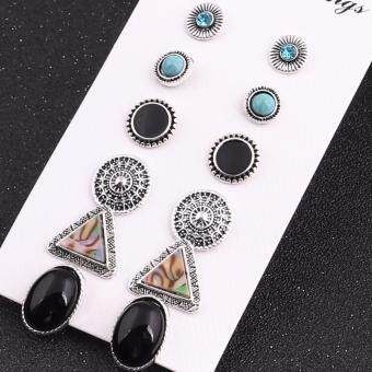 Harga Black 6Pair/Set Rhinestone Vintage Turquoise Earring Set Fashion Natural Stone Oval Earrings Jewelry Set Gifts