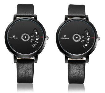 Harga Set of 2 V6 B004 Fashion PU Leather Band Life Water Resistant Luxury Quartz Watch-black face black strap