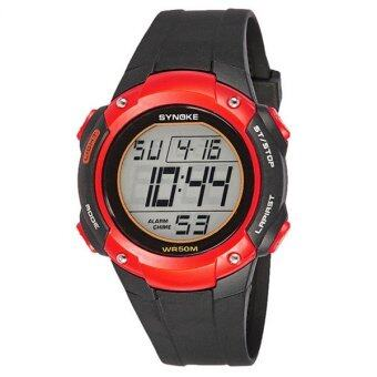 Harga New Brand SYNOKE Kids LED Digital-watch Outdoor Sports Watches Fashion Waterproof Children Wristwatches (red)