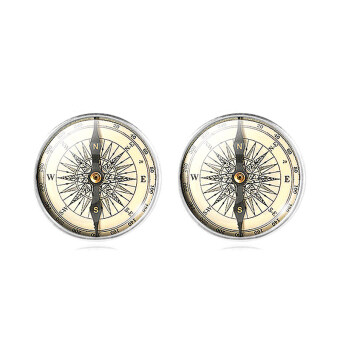 Harga Jiayiqi Famous Compass Picture Women's Silver Plated Stud Earrings