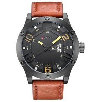 Harga CURREN 8251 Original Brand Men's Round Analog Wrist Watch Sports Waterproof Faux Leather Band Watch for Men