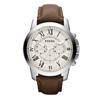 Harga Fossil Men Grant Chronograph Brown Leather Watch FS4735