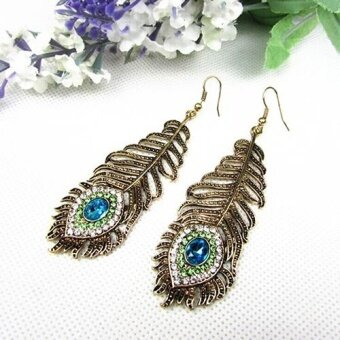 Harga Broadfashion Vintage Women Rhinestone Peacock Eye Feather Dangle Hook Earrings Jewelry